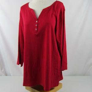Karen Scott Red Amore V-Neck Button T-Shirt Top 2X